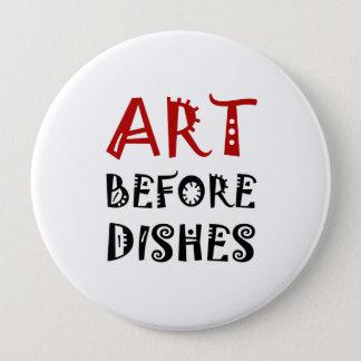 Arte antes dos pratos bóton redondo 10.16cm