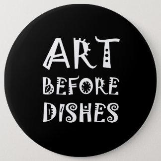 Arte antes dos pratos bóton redondo 15.24cm