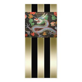 Arte asiática colorida brilhante do dragão convite 10.16 x 23.49cm