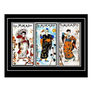 Arte asiática Mikado do vintage do cartão