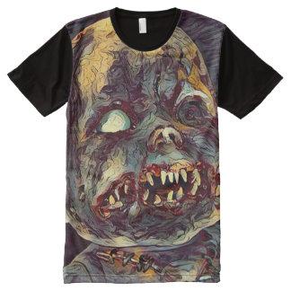 Arte assustador da obscuridade do horror da boneca camiseta com impressão frontal completa