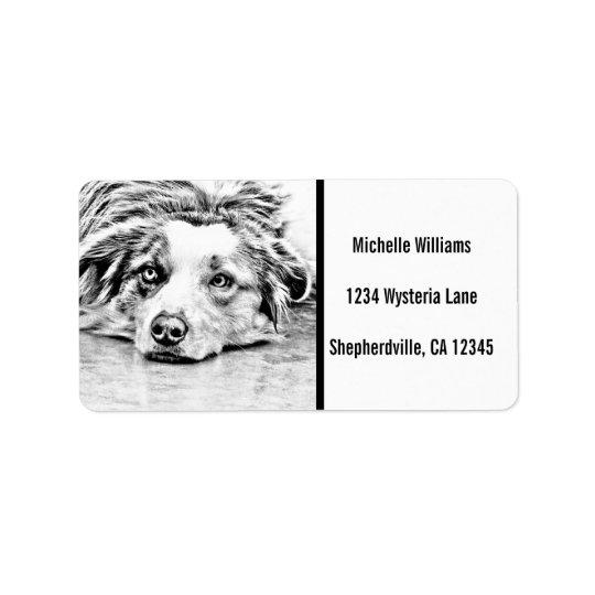 Arte australiana do cão de pastor etiqueta de endereço