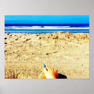 Arte azul da fotografia de Califórnia da praia do Pôster