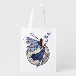 Arte azul da meia-noite da fantasia da borboleta e sacolas ecológicas