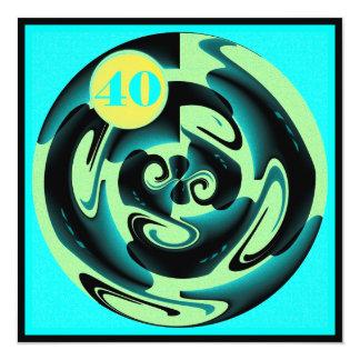 Arte azul e amarela do aniversário de 40 anos de convite quadrado 13.35 x 13.35cm