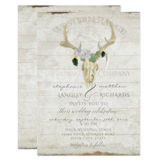 Arte boémia do crânio do Antler dos cervos de Boho Convite 12.7 X 17.78cm