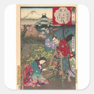 Arte bonita japonesa do samurai da gueixa adesivo quadrado