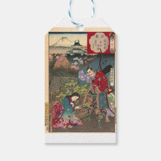 Arte bonita japonesa do samurai da gueixa etiqueta para presente