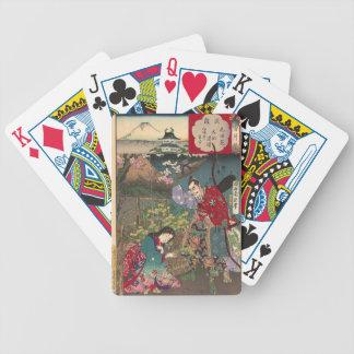Arte bonita japonesa do samurai da gueixa jogos de cartas