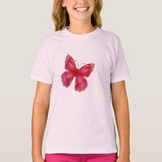 Arte bonito da borboleta do vintage cor-de-rosa camiseta