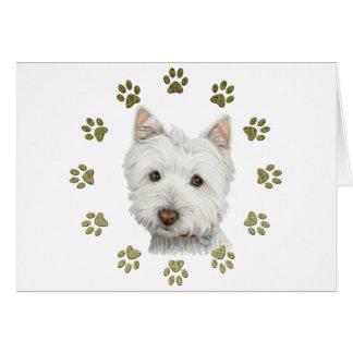 Arte bonito e patas do cão de Westie Cartão De Nota