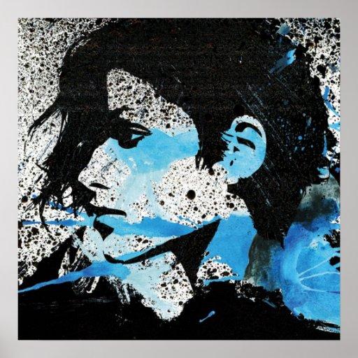 Arte branca abstrata da aguarela da menina do pret pôsteres