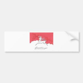 Arte branca vermelha do feriado da rena dos cartõe adesivo para carro
