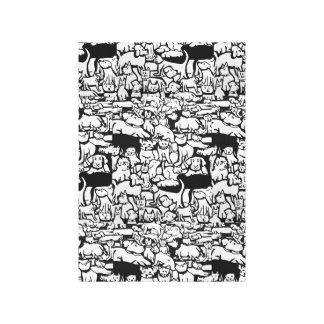 Arte canvas dos desenhos animados dos cães e gato