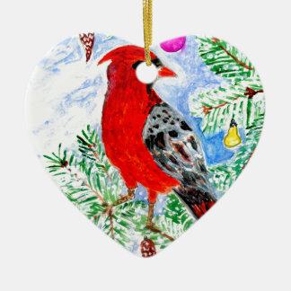 Arte cardinal vermelha ornamento de cerâmica coração