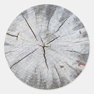 Arte cinzenta 1 da foto do coto de pinheiro da adesivos redondos