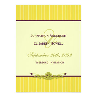 Arte clássica casamento roxo amarelo e escuro de convite 16.51 x 22.22cm
