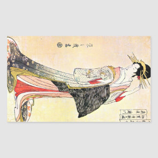 Arte clássica japonesa oriental legal da senhora adesivo retangular