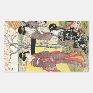 Arte clássica japonesa oriental legal da senhora d adesivos em forma retangular