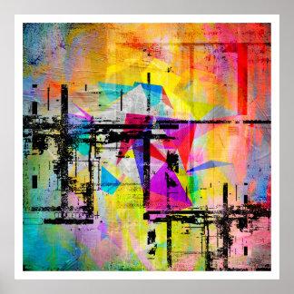 Arte colorida abstrata geométrica moderna pôster