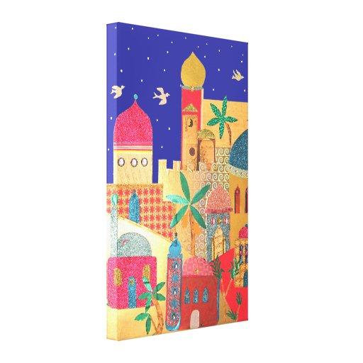 Arte colorida da cidade de Jerusalem Impressão Em Canvas