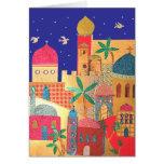 Arte colorida da cidade de Jerusalem Cartão