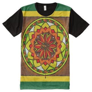 Arte colorida da mandala da roda da medicina da camiseta com impressão frontal completa