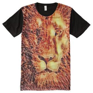 Arte colorida do Fractal do leão Camisetas Com Impressão Frontal Completa