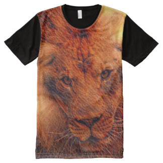Arte colorida do Fractal do leão do fogo Camisetas Com Impressão Frontal Completa
