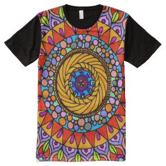 Arte colorida do Indie da mandala da viagem da Camiseta Com Impressão Frontal Completa