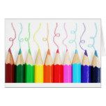 Arte colorida do lápis cartões