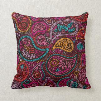 Arte colorida do teste padrão de paisley india travesseiros de decoração