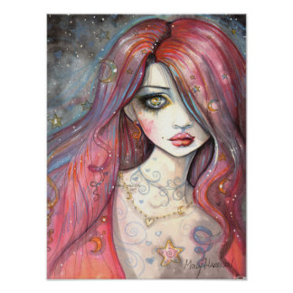 Arte contemporânea da fantasia da menina do poster