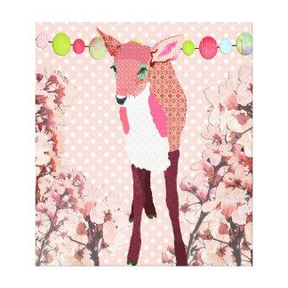 Arte cor-de-rosa bonito do Pok-um-ponto da jovem Impressão Em Tela