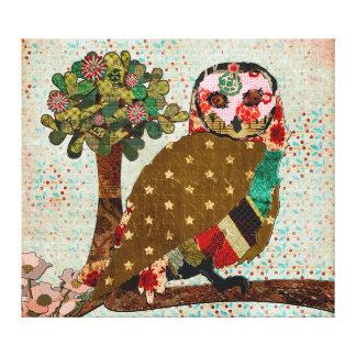 Arte cor-de-rosa das canvas da serenidade da coruj impressão em tela