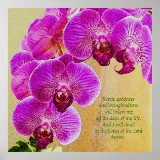 Arte cor-de-rosa do costume do salmo 23 das orquíd poster