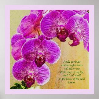 Arte cor-de-rosa do cristão do costume do salmo 23 poster