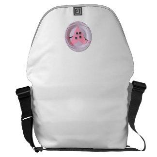 Arte cor-de-rosa do miúdo do coração da criança de bolsas mensageiro