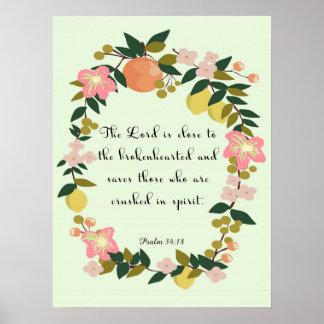 Arte cristã legal - 34:18 do salmo pôster
