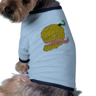 Arte da abóbora do Dia das Bruxas Camiseta Para Cães