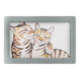 Arte da aguarela de dois gatos de Bengal