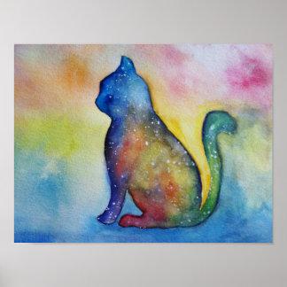 Arte da aguarela do gato, papel de poster do valor