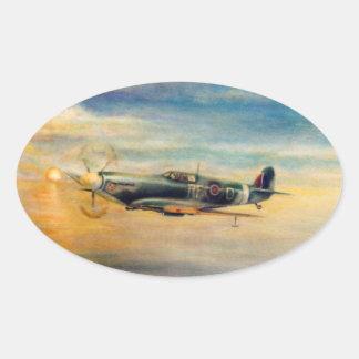 Arte da aviação adesivo oval