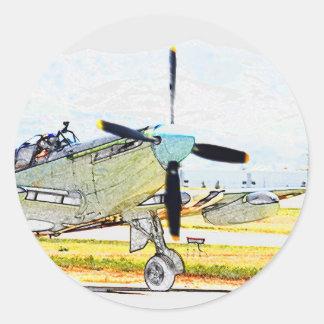 Arte da aviação da rendição do vaga-lume AS-6 Adesivo Redondo
