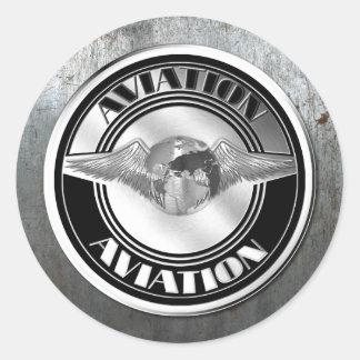 Arte da aviação do vintage adesivo em formato redondo
