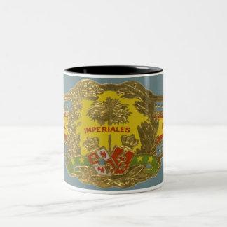 Arte da etiqueta de banda do charuto do vintage, caneca de café em dois tons