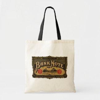 Arte da etiqueta do charuto do vintage, finança da sacola tote budget