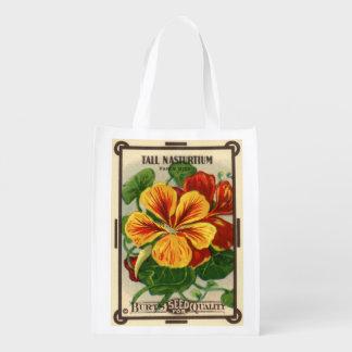 Arte da etiqueta do pacote da semente do vintage, sacola reusável