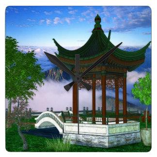 Arte da fantasia da paisagem da natureza do pagode relógios para pendurar