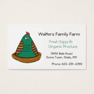Arte da galinha do cartão de visita da fazenda da